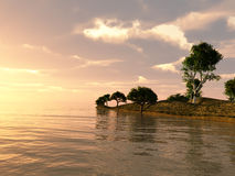 Sea Island. Part of an island in the middle of a ocean Royalty Free Stock Images