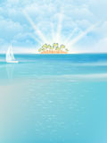Sea island blue sky sand sun. EPS 10 Stock Images