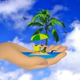 Sea ??island with palm in a female hand. Vector Stock Image