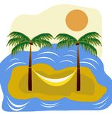 Sea island with palm and hammock Stock Photography