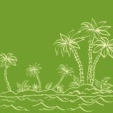 Sea island with palm trees contours on green Stock Photography