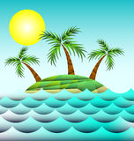 Sea and island with palm trees Stock Photos