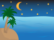 Sea with island with palms in night Royalty Free Stock Images