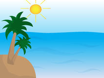Sea with island with palms and sun Royalty Free Stock Photography