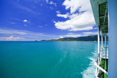 Sea and island on samui Thailand with window of boat. With detail royalty free stock photos