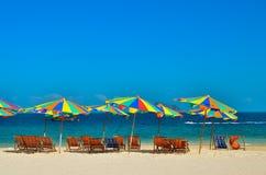 Sea,Island,umbrella,Thailand, Khai Island Phuket, Sun beds and sun umbrellas on a tropical beach. Sea,Island,umbrella,Thailand, Khai Island Phuket, Sun beds and Stock Photo
