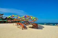 Sea,Island,umbrella,Thailand, Khai Island Phuket, Sun beds and sun umbrellas on a tropical beach. Sea,Island,umbrella,Thailand, Khai Island Phuket, Sun beds and Stock Photos