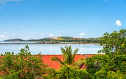 Sea and island view in Samui island, Thailand. Sea and island viewpoint from Wat Phra Yai Great Buddha temple under cloudy blue sky in summer season in Samui royalty free stock photo