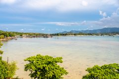 Sea and island view in Samui island, Thailand. Sea and island viewpoint from Wat Phra Yai Great Buddha temple under cloudy blue sky in summer season in Samui stock photos