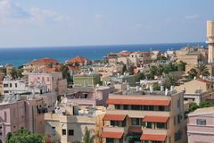The sea in Jafo. Kind on the sea from a window in the city of Jafo Israel Stock Images