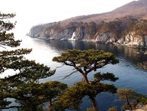 The Sea of Japan, coast of Far East Marine Biosphere Reserve. In spring stock images