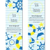 Sea journey cartoon banners. Vector illustration. Set of banners sea journey. Doodle vector illustration Stock Photo