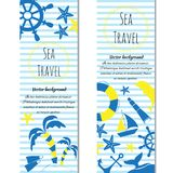 Sea journey cartoon banners. Vector illustration. Set of banners sea journey with logo. Doodle vector illustration Royalty Free Stock Photography