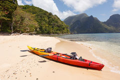 Sea kayak at the beach Royalty Free Stock Images
