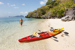 Sea kayak at the beach Stock Images