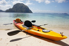 Sea kayak at the beach Stock Image