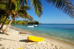 Sea kayak on the beach near palm trees stock images