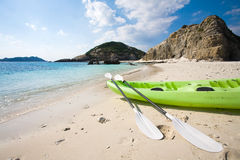 Sea-kayak on beach in Okinawa stock images