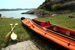 Sea kayak on a beach in Scandinavia. Collapsible kayak on an island in Sweden Stock Image