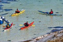 Sea Kayak Convoy island Hitra Royalty Free Stock Photo