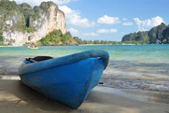 Sea kayak. On a tropical beach in Thailand royalty free stock photography