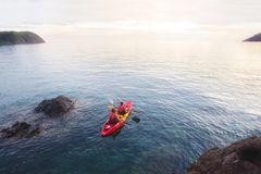 Sea kayaking leisure activity, holidays in Thaialnd royalty free stock photos