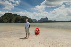 Sea Kayaking. Leisure. Concept travel. Stock Photo