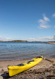 Sea kayaking in Sweden. View on a sea kayak parked on a shore in Stockholm Archipelago stock photos