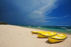 Sea kayaks on the beach Stock Photography