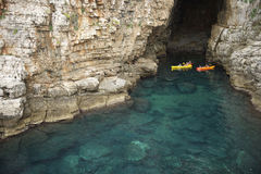 Sea Kayaks Mediterranean Sea Cave Royalty Free Stock Image