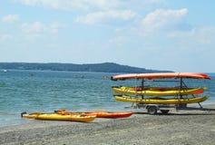 Sea kayaks ready for tourists at Bar Harbor Stock Photos