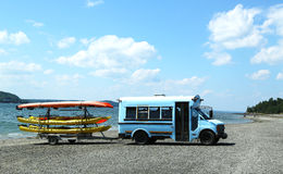 Sea kayaks ready for tourists at Bar Harbor Royalty Free Stock Photo
