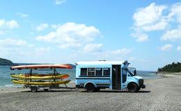 Sea kayaks ready for tourists at Bar Harbor Royalty Free Stock Photo