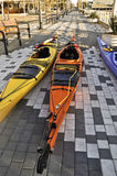 Sea Kayaks Resting at Jack London Square Oakland Royalty Free Stock Photo