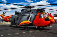 Sea King helicopter at the Farnborough air show 2018 royalty free stock photos