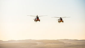 Sea King Helicopters in Winter sun royalty free stock photography