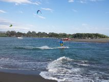 Sea and kite surf royalty free stock images