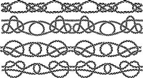 Sea knot decoration. Seamless pattern set Royalty Free Stock Photography