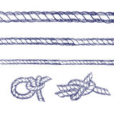 Sea Knot Rope Set Hand Draw Sketch. Vector Royalty Free Stock Photo