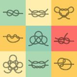 Sea Knots - Vector Outline Icons. Vector Icons of Sea Knot Collection. Editable stroke design elements for seafood restaurant menu. Set of logotypes templates Royalty Free Stock Images