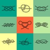 Sea Knots - Vector Outline Icons Stock Image