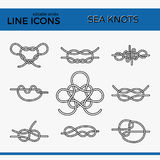 Sea Knots - Vector Outline Icons. Vector Icons of Sea Knot Collection. Editable stroke design elements for seafood restaurant menu. Set of logotypes templates Royalty Free Stock Photography