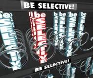 Sea la máquina expendedora selectiva D quisquillosa criticona remilgada del bocado de las palabras 3d Imágenes de archivo libres de regalías