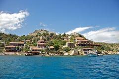 Sea lagoon. Boat in sea lagoon, Turkey Stock Images