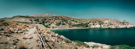 Sea lagoon among mountains of Crete island near Aghios Pavlos town, Greece Royalty Free Stock Photo