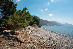 Sea lagoon among mountains of Crete island near Paleochora town, Greece Royalty Free Stock Image