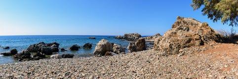 Sea lagoon among mountains of Crete island near Paleochora town, Greece Royalty Free Stock Photography