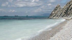 Sea Lagoon near Mountains. At beauty sunny day stock video