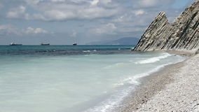 Sea lagoon near mountains at sunny day. Sea lagoon near mountains at beauty sunny day stock footage