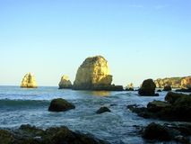 Sea in Lagos. The sea in Lakes in the Algarve. Here fantastic beaches with grottos and interesting rocky formations exist royalty free stock photography